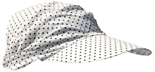 Cool4 Sommer Schirm Kopftuch Visor Strand Cap Bandana Sonnenschutz Mütze Chemo A01 (Weiß (schwarz gepunktet)) -