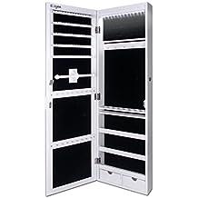 Joyero Pared, Espejo Con Armario Para Joyas, Montura Para Puerta, Espejo Con Gabinete Con Luces LED, 110 x 31.5 x 8.5 cm-Ezigoo