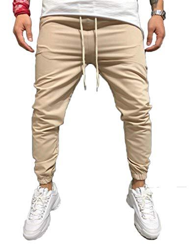 Dilicwa pantaloni sportivi slim fit da uomo pantaloni da jogging da ginnastica di fondo pantaloni con risvolto (kaki, xxxl)