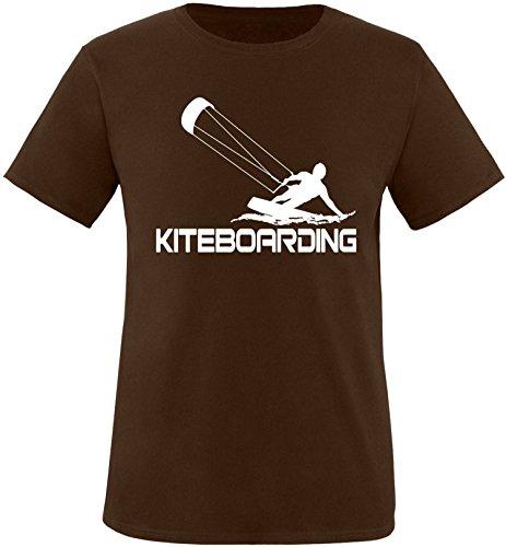 EZYshirt® Kiteboarding Herren Rundhals T-Shirt Braun/Weiß