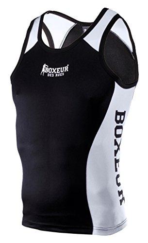 BOXEUR DES RUES BXT-340TNK Camiseta de Tirantes de Boxeo con Detalles de Rejilla, Hombre, Negro, L