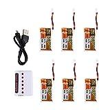 6Pcs ZOP Power 3,7 V 600mAh 30C Lipo Batterie mit 6 in 1 Ladegerät für RC-Drohne