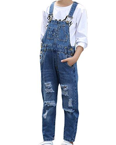 Mädchen Latzhose Baby Kleinkind Mädchen Jeanshose Tasche Jeans Hosen Overall Denim Jumpsuit Blau 120 (Kleinkinder Mädchen Jeans)