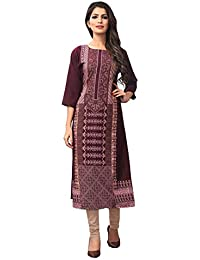 66d57f4a6a6 1 Stop Fashion Women s Wine-Coloured Crep Knee Long W Style Foil Print  Kurtas