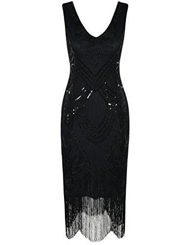 20er Gatsby Art Deco Perle Franse Flapper Charleston Kleid S Schwarz (20er Jahre Kleid Schwarz)