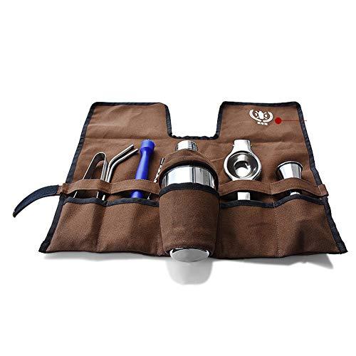Cocktail Barkeeper-Set Mit Tragbare Tasche, 9 Stück Bar Werkzeugsatz Mit Shaker Jigger Stößel Bar-löffel Strohhalme & Zitrone Clip-b 350ml -