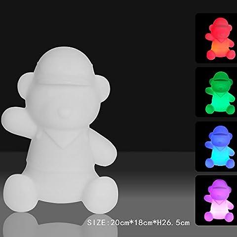 MERVY - Lampe Veilleuse Nounours Ourson avec led multicolore 26cm sans fil et rechargeable + télécommande 16 couleurs