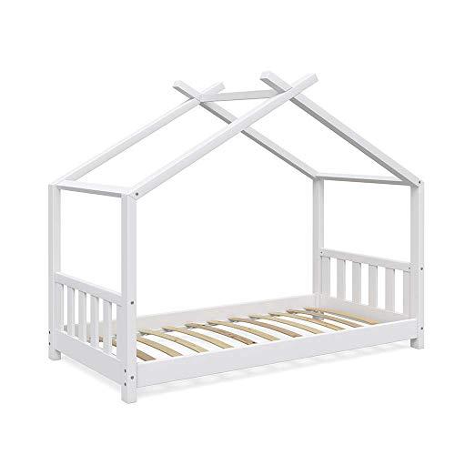 VitaliSpa Kinderbett Hausbett Design 80x160cm weiß Zaun Kinder Bett Holz Haus Schlafen Hausbett Spielbett Inkl. Lattenrost und Fallschutzgitter (Weiß Bett Kinder)