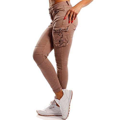 Damen Cargohose Slim-fit Jeans mit Strass Mid Waist Power Stretch im Boyfriend-Style Altrosa