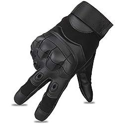 Guantes Moto Invierno, Impermeable Pantalla Táctil Táctico Guantes Protectores de Motociclismo Dedo Completo (XL, Negro)