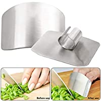 Catkoo Chef Stainless Steel Finger Guard Knife Cutting Protector,Hand Kitchen Safe Slice Tool for Chef - Cooking Avoid Hurting When Slicing and Chopping Silver