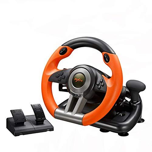 Aiya Game Steering Wheel Driving Force Racing Wheel Computer Simulation Racing Simulation Car Support PC/PS4/PS4/Computer Racing Game Steering Wheel Car Simulator,Orange