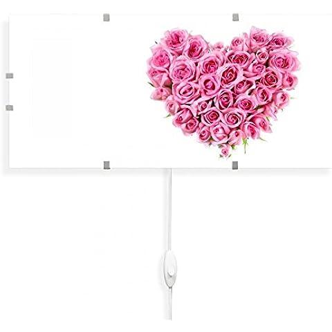 banjado–Lámpara de pared 56cmx26cm Diseño Lámpara de pared Lámpara LED con cambio Disco y diseño Rose Corazón