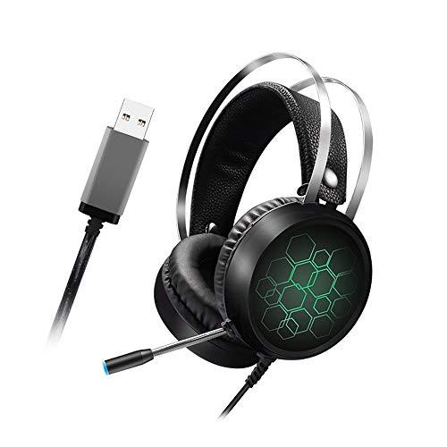 LYXLQ PS4-Headset, Gaming-Headset mit Mikrofon und LED, USB-Schnittstelle 7.1-Surround-Stereo-Sound Bunter Gradienten-Lichteffekt, geeignet für Esports Game Movie MP3,A