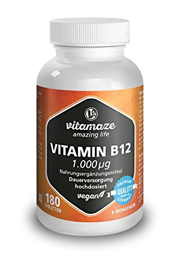 Vitamin B12 hochdosiert Methylcobalamin 1000 µg 180 Tabletten vegan 6 Monatsvorrat Qualitätsprodukt-Made-in-Germany ohne Magnesiumstearat, 1 er Pack (1 x 45 g)
