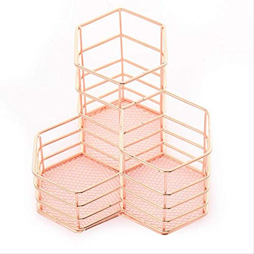 Makeup Brush Holder Hexagon Vase Metal Mesh Basket Schreibtisch Organizer Wire Golden Pen Pencil Hot Hollow Hollow Holder Beauty Makeup Kit Rose Gold