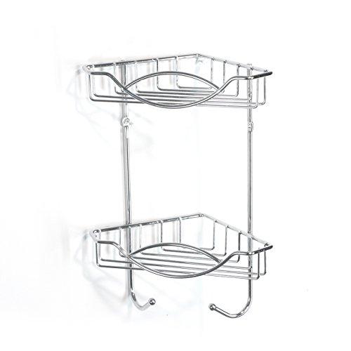 2 Regal, Chrom-draht (Sanimix24 Hochwertiges Eckregal Wandregal Badregal Küchenregal Duschablage Drahtregal aus Metall - Verchromt - mit 2 Ablagekörben und 2 Haken)