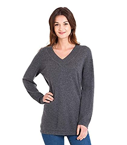WoolOvers Womens Cashmere Merino Relaxed V Neck Knitted Tunic Charcoal, L