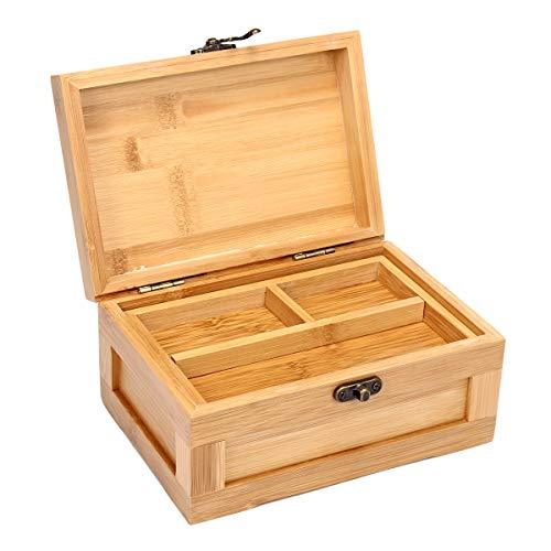 Aufbewahrungsbox für Schmuck, Bambus, Retro-Vintage, für Damen, Ringe, Schmuckkästchen