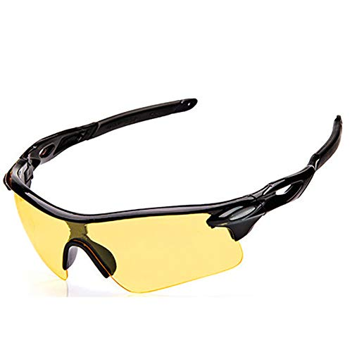 Ouken Brillen Sonnenbrille in Schwarz Sonnenbrille UV400 Outdoor Winddicht Gläser für Wandern Fischen Jagen, Gelbe Linse