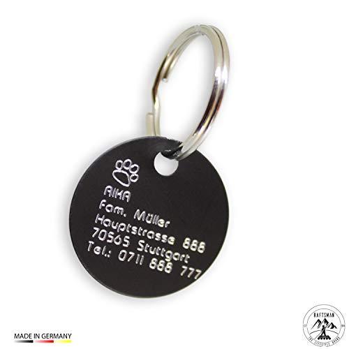 Raftsman Hundemarke mit Gravur - ID Tag - Adressanhänger - Adressschild - Individuelle - Personalisiert - Diamantgravur (Schwarz-Matt)