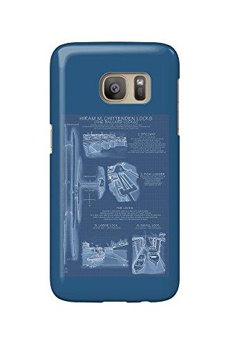 Seattle, Washington - Ballard Locks Technical (Blueprint Version) (Galaxy S7 Cell Phone Case, Slim Barely There) (Seattle, Ballard Washington)