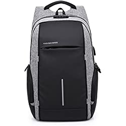 MUFUBU Presents Waterproof Anti Theft Property Laptop Backpack fits for 15.6 Inch with USB Port - Grey and Black
