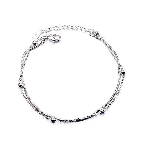 FlowerKui Charmante Armbänder Doppelschicht Transport Bead Schlangenkette Armband Schmuck