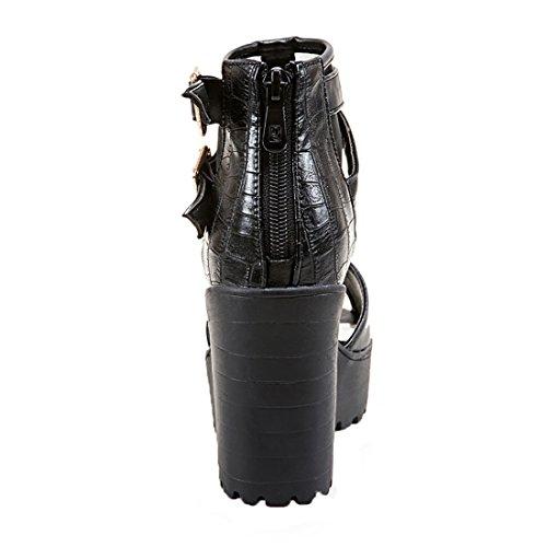 UH Femmes Sandales Laniere en T à Talons Moyen Bloc avec Plateforme Peep Toe avec Boucles et Fermeture Eclaire Noir