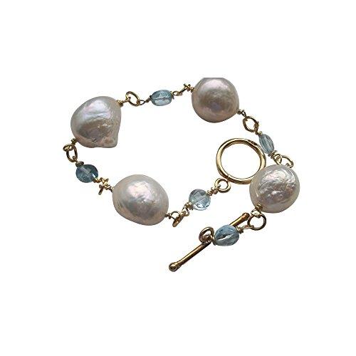 Blau Topas Armband große Perle Damen Armband