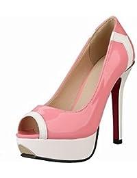 VogueZone009 Damen Ziehen auf Hoher Absatz Gemischte Farbe Offener Zehe Sandalen CCADLP014773