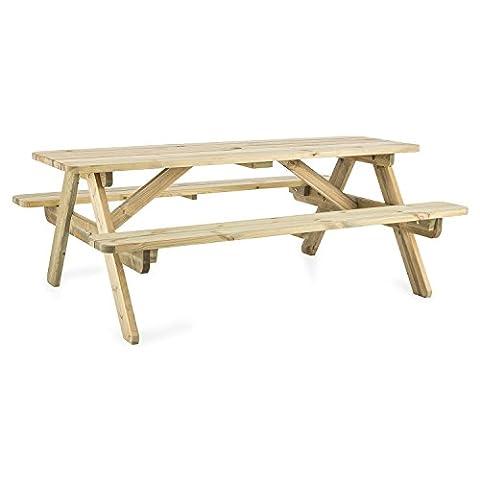 Blumfeldt Picknicker 180 Table de pique-nique avec bancs intégrés (en bois de pin scandinave,certifié FSC (foresterie soutenable), épaisseur de 32 mm, 45 kg, 180 x 70 x 128 cm, plateau de la table 180 x 55,5 cm, surface du banc 180 x 22 cm)