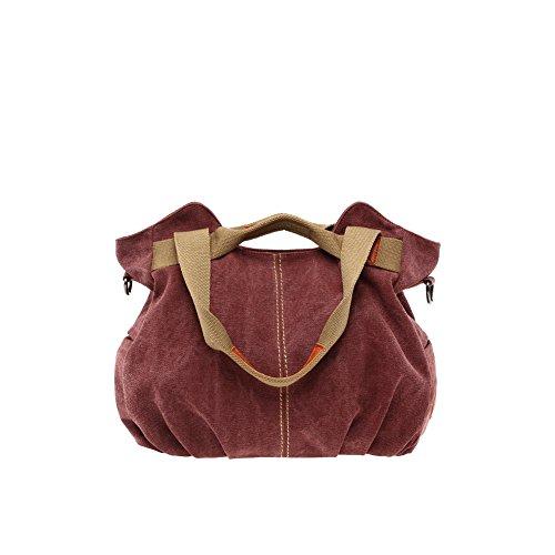 Yvonnelee Canvas Tasche Handtasche Henkeltasche Schultertasche Umhängetasche für Damen und Frauen Schulterriemen Abnehmbar - Braun Kaffeebraun