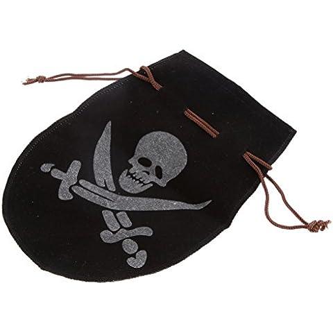Bolsa de Dinero Monedas de Tesoro Pirata Flocado Tela Negro Juegos de Cumpleaños Fiesta Niños