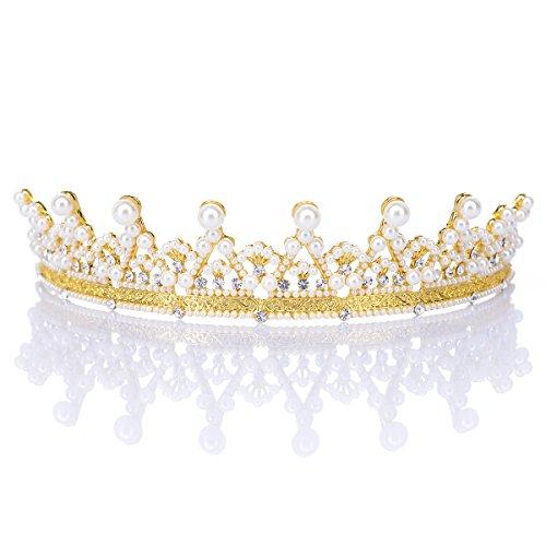 Remedios Strass Kristall Braut Hochzeit Diadem Tiara Gold Festzug Prinzessin Krone (Gold Tiara)