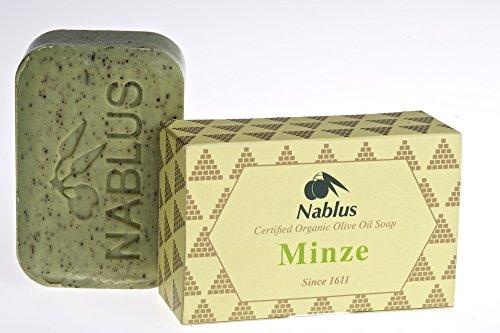 Nablus Soap Natürliche Olivenölseife Minze, ideal bei trockener Haut, palmölfrei, aus 80% Olivenöl aus erster Pressung, 100g -