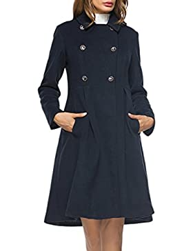 Le Donne Inverno Casual Solido A Doppio Petto Tweed Coat Outwear