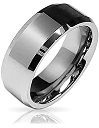 Bling Jewelry El borde biselado Center Comfort FIT Banda de boda de tungsteno de 8mm