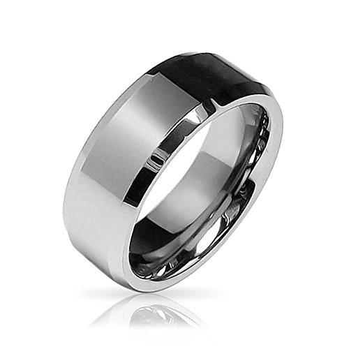 Bling Jewelry abgeschrägte Kante Center Comfort Fit Tungsten Hochzeit Band 8 mm