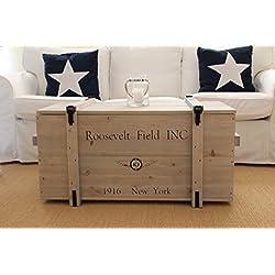 Caja de madera estilo shabby chic mercancías caja Vintage baúl caja de transporte para mesa baja gris