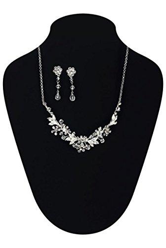 Parure bijoux pour grandes occasions muni de fleurs en strass et crist Cristal