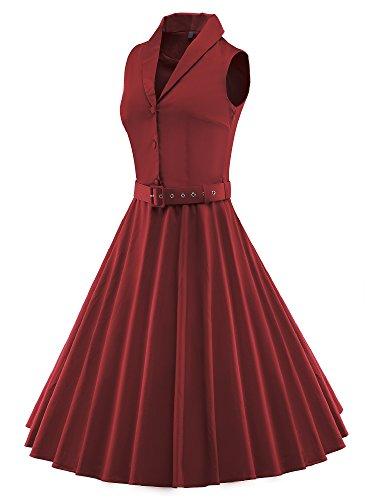 LUOUSE 'Luna' Solid Farben Vintage Serenity 50er Swing Kleid Rot