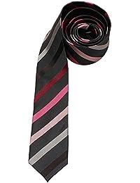 Venti Krawatte Weinrot Rosa Grau Mehrfarbig Gestreift 100% Seide 6cm Breit Schmale Form Fleckenabweisend