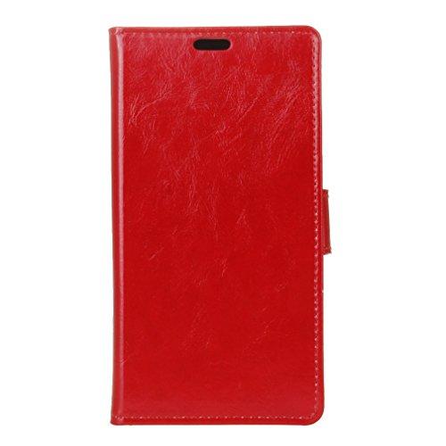 Huawei Y6 II COMPACT Hülle,Quenjoy® Stand Brieftasche Flip Case Schutzhülle Crazy Horse Leder Etui Ultra Slim zu Schützen für Huawei Y6 II COMPACT,Rote 01