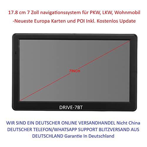 7 Zoll Navigationsgerät DRIVE-7BT Für LKW, PKW, Bus,WOHNMOBIL und Camper. Radarwarner, Kostenlos Map Update. Bluetooth, AV-IN INKL Drahtlose Rückfahrkamera und TMC/TMC PRO. Kostenlose Karten Updates.