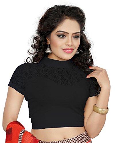 Fashionable Readymade blouse plain cotton lycra redaymade blouse (65) (Black)