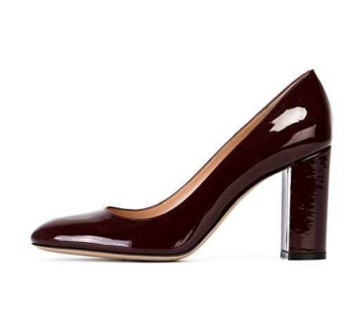 High Winered 10cm Blockabsatz Pumps Edefs Heels Runde Geschlossen Damenschuhe Zehe Damen FAZnwO
