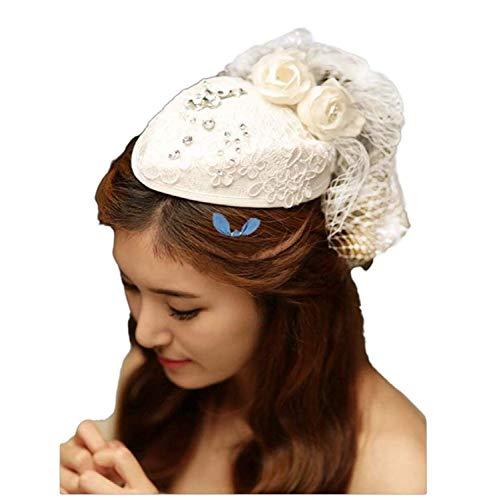 BOLAWOO-77 Fascinator Damen Stirnband Elegant Mode Retro Kentucky Derby Pillbox Hut Süße Temperament Sparkle Strass Blumen Spitze Stirnbänder Braut Tea Party Hochzeit Hut Kopfschmuck Stirnbänder