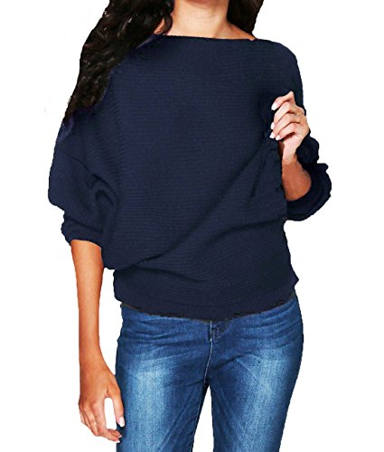 ZhiWanTing Damen Herbst Winter Knit Sweater Fledermaus Loose Stricken Pullover (EU 40-42/L, Marine-Blau) (Marine-blau-damen Strass T-shirt)