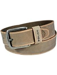 POLICE Men's Genuine Leather Belt (Brushed Nickel Buckle)